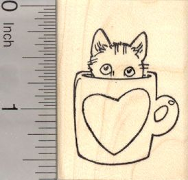Valentine's Day Cat Rubber Stamp, in Coffee Mug with Heart (E23406) $8 at RubberHedgehog.com