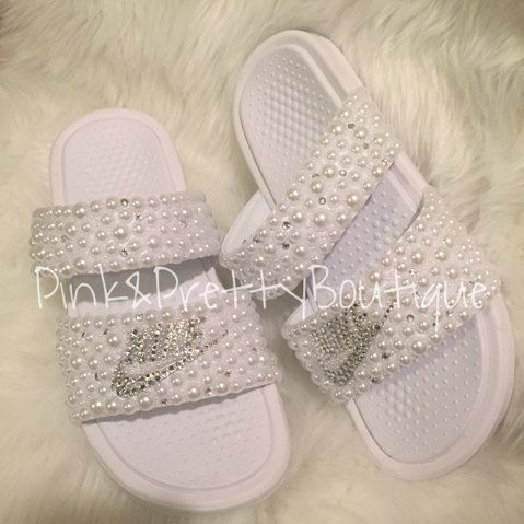 3c8b54b0196 Custom Pearl   Bling Nike Slides by PinkandPrettyBoutiq on Etsy ...