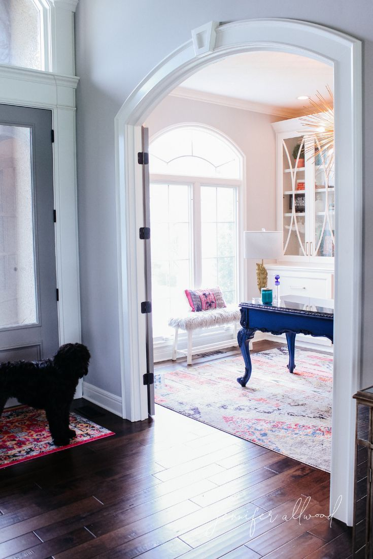 Info's : Home Office Decor Ideas by Jennifer Allwood   Home Office Ideas for Women   Pink and Blue Home Office   French Doors on home Office   Home Office Makeover   How to Design a Home Office #homedecor #office #officedecor #diyhomedecor #decoratingideas #homeoffice