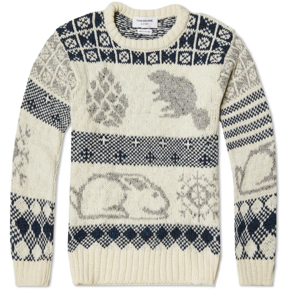Thom Browne Donegal Icon Fair Isle Sweater (White Mix) | Knit ...