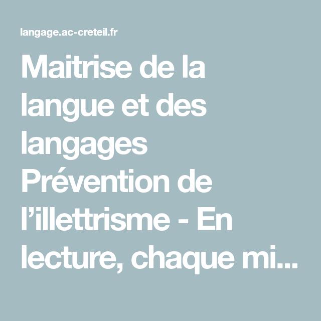 maitrise de la langue et des langages pr u00e9vention de l