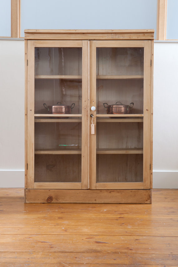 Antique Pine Display Cabinet With Glass Front by GRKfurniture, £260.00 - Antique Pine Display Cabinet With Glass Front By GRKfurniture