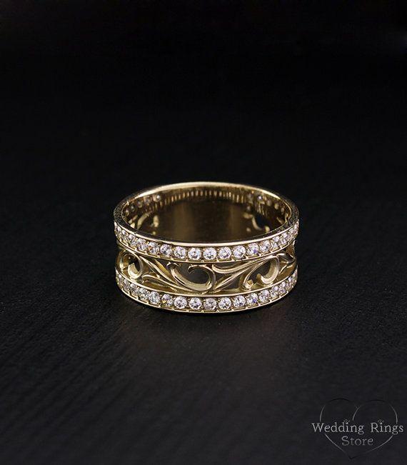 Vintage Style Engagement Ring Leaves Wedding Band Unique Wedding