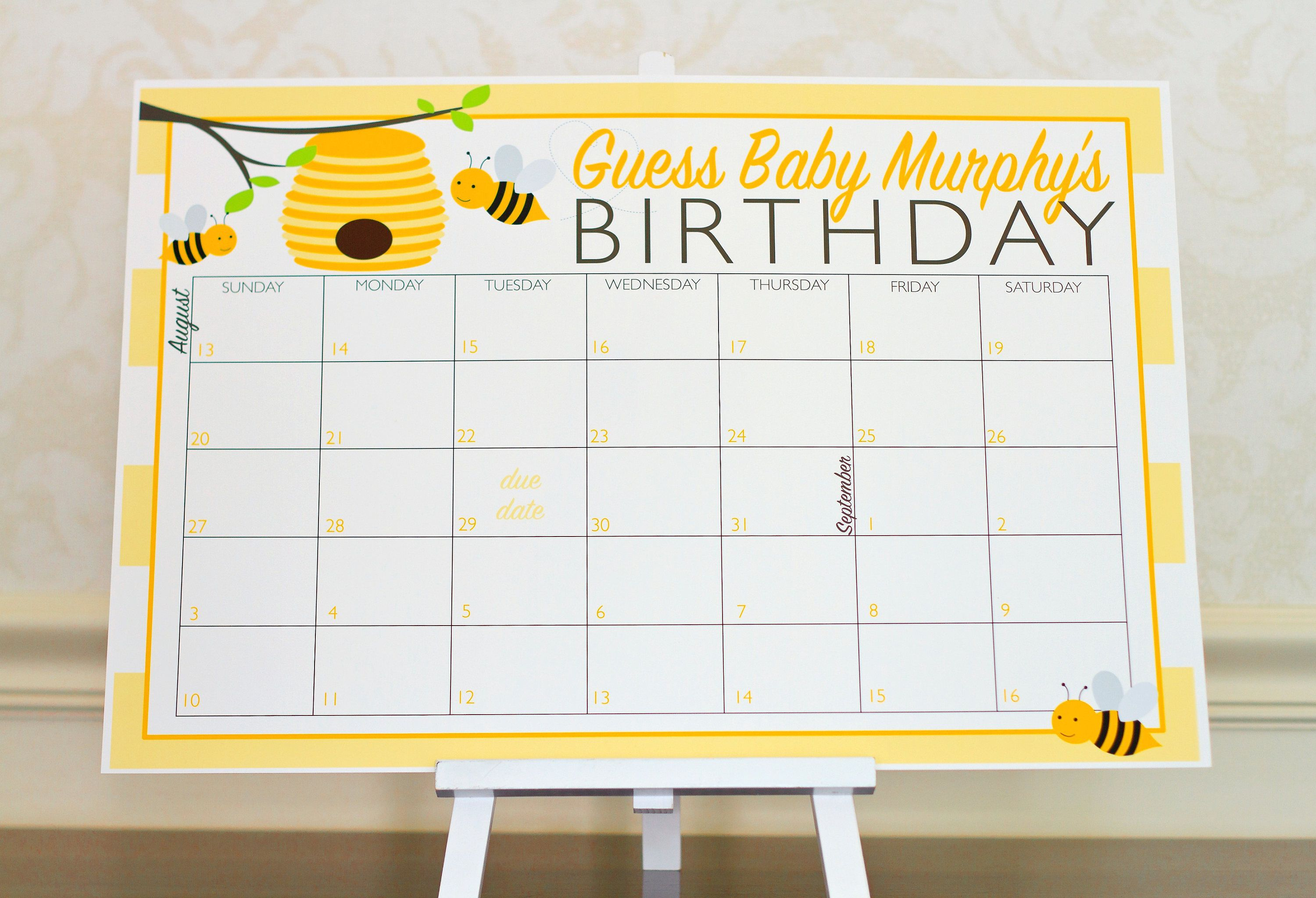 Bumble Bee Guess the Due Date Calendar Game Yellow Baby Shower