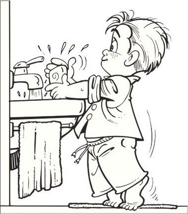 washing hands signs coloring page for children | the Importance of ...