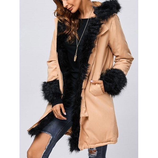 47.92$  Watch here - http://diugm.justgood.pw/go.php?t=199498308 - Faux Fur Hooded Parka Jacket 47.92$