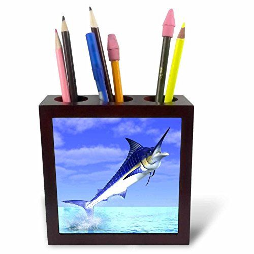3dRose ph_58819_1 Marlin Fish Coming Out of The Water Tile Pen Holder 5Inch * Visit the image link more details.