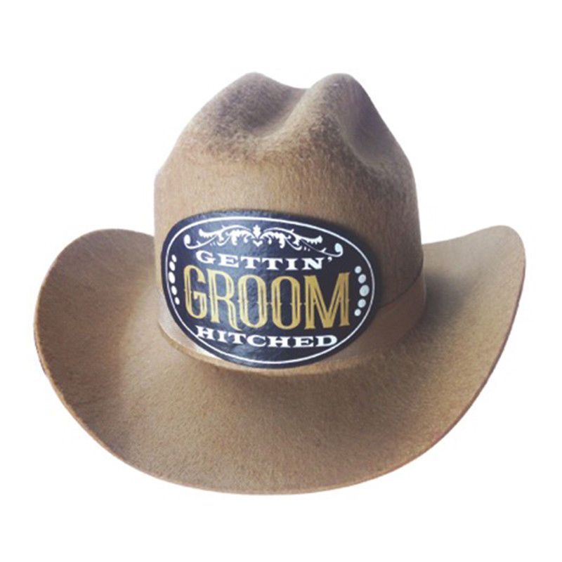 0c8c9ecae6a GROOM GROOM S HAT BROWN COWBOY STYLE WEDDING BACHELOR STAG PARTY NEW   LittleGenieProductions