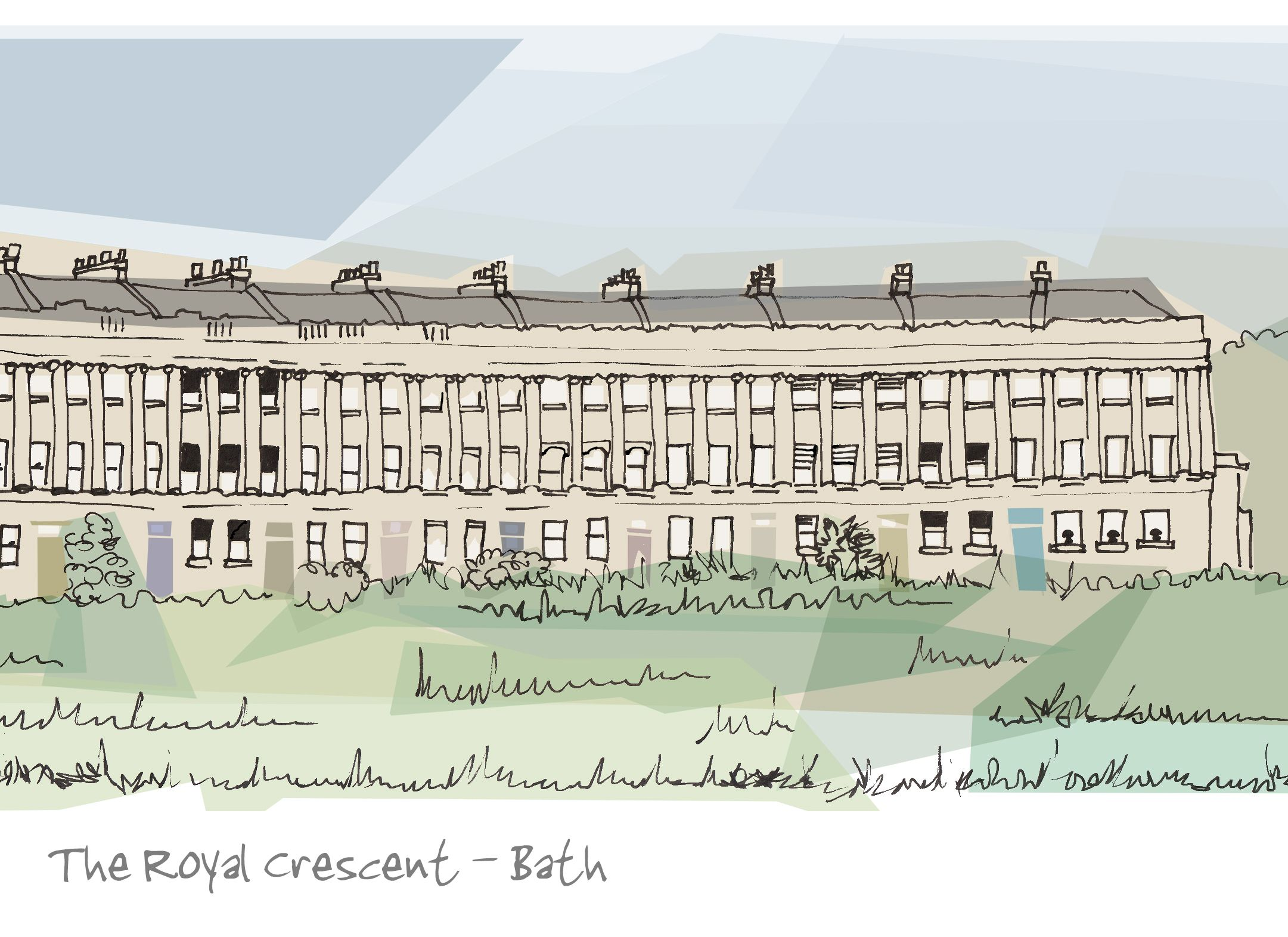 The Royal Crescent Ink drawing accenting architectural lines in a