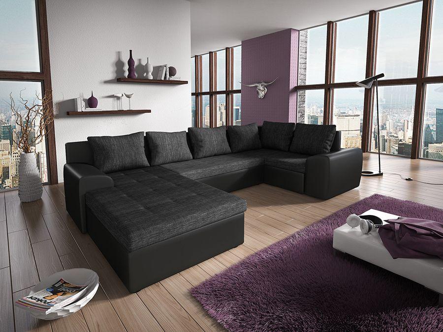 Canapé d angle convertible en PU noir et tissu noir chiné ALESSANDRO