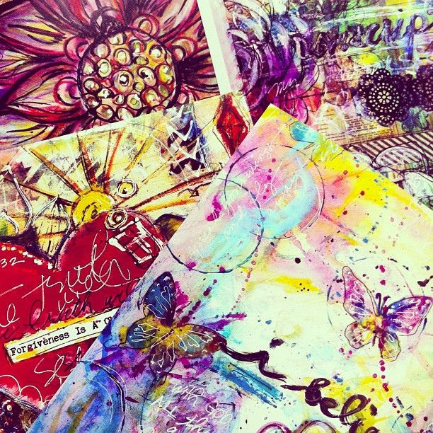 Close up of the #art prints :) Hmm thinking about doing a giveaway! #mixedmedia by Makita Studio, via Flickr