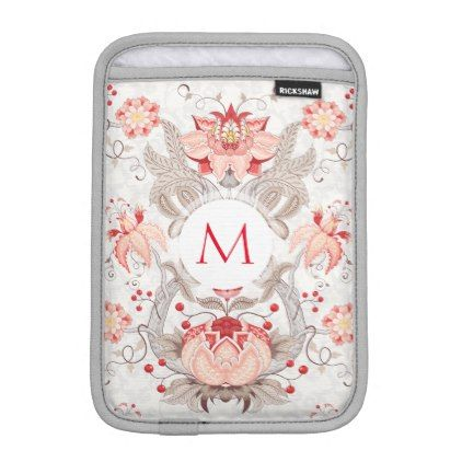 Chic Vintage Floral Damask Monogram iPad Sleeve - monogram gifts unique design style monogrammed diy cyo customize