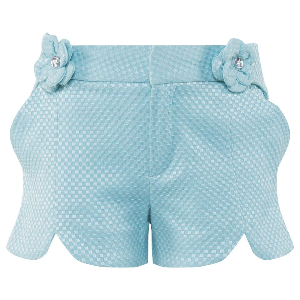 For a piece with a touch of flair, opt for Mayoral's aqua jacquard shorts. Crafted from a textured fabric and with an elasticated