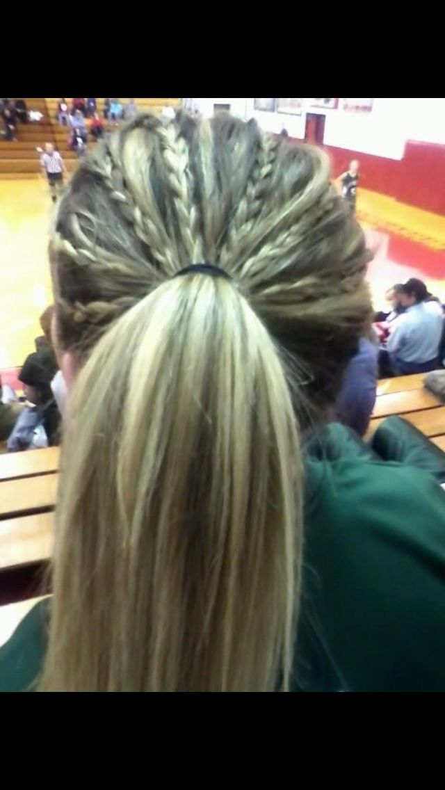 Tiny Multiple Braids Tied Into A Ponytail Sports Hairstyles Sporty Hairstyles Ball Hairstyles