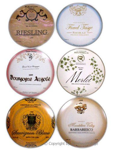 fantastic vintage inspired set of 6 wine label plates each plate has - Horderves Plates