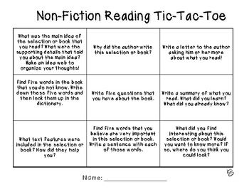 Nonfiction Reading Response TicTacToe  Teaching Reading