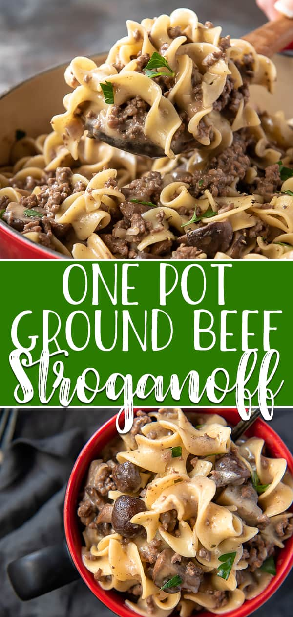 Weeknight dinners can be equally quick and comforting with this One Pot Ground Beef Stroganoff! This meal has all the flavors of traditional stroganoff, but is made with fresh mushrooms, lean ground beef, tasty egg noodles, and NO CANNED SOUP! #crumbykitchen #groundbeef #stroganoff #onepot #dinnerideas