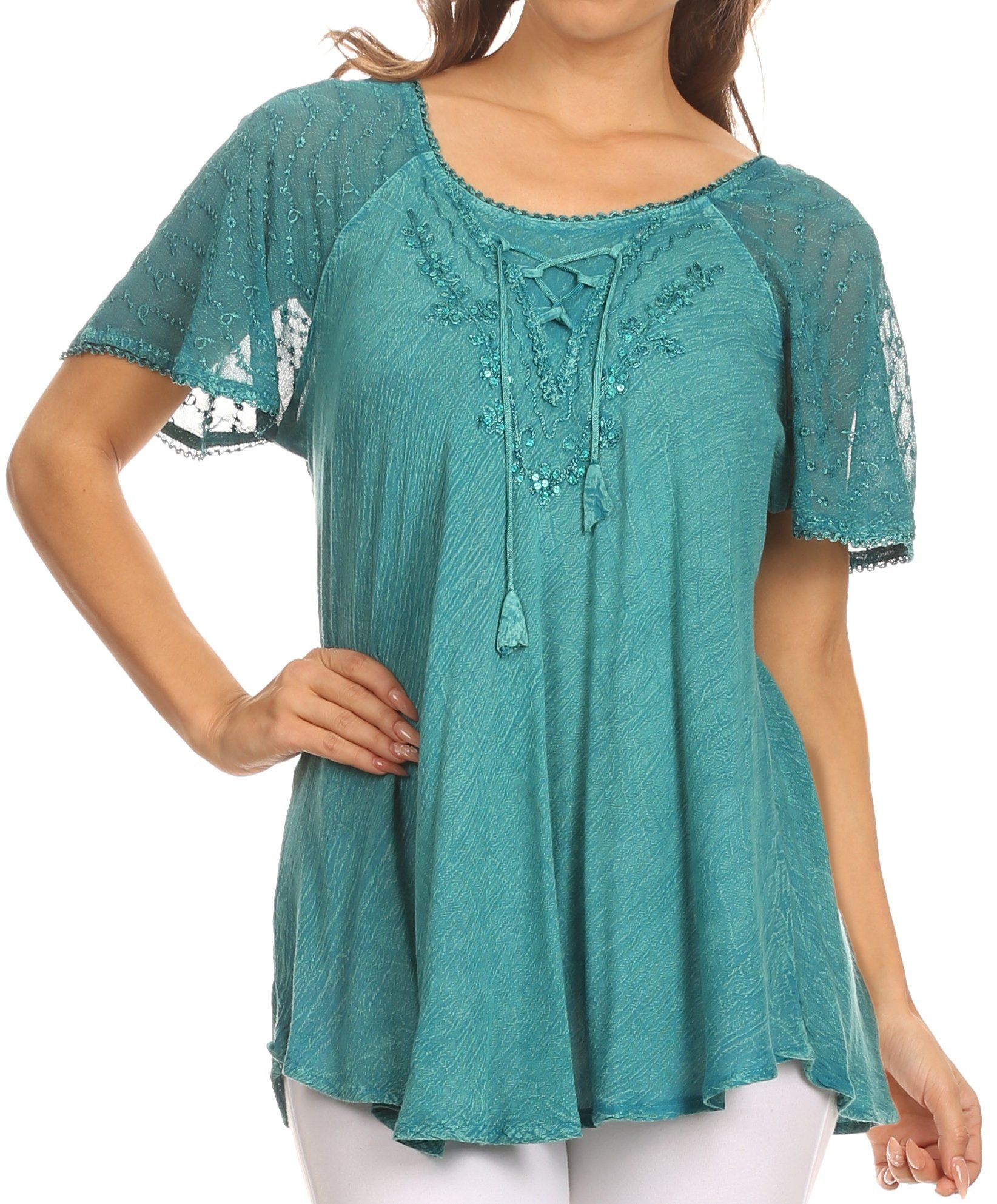 369424df5108d Sakkas Ellie Sequin Embroidered Cap Sleeve Scoop Neck Relaxed Fit Blouse