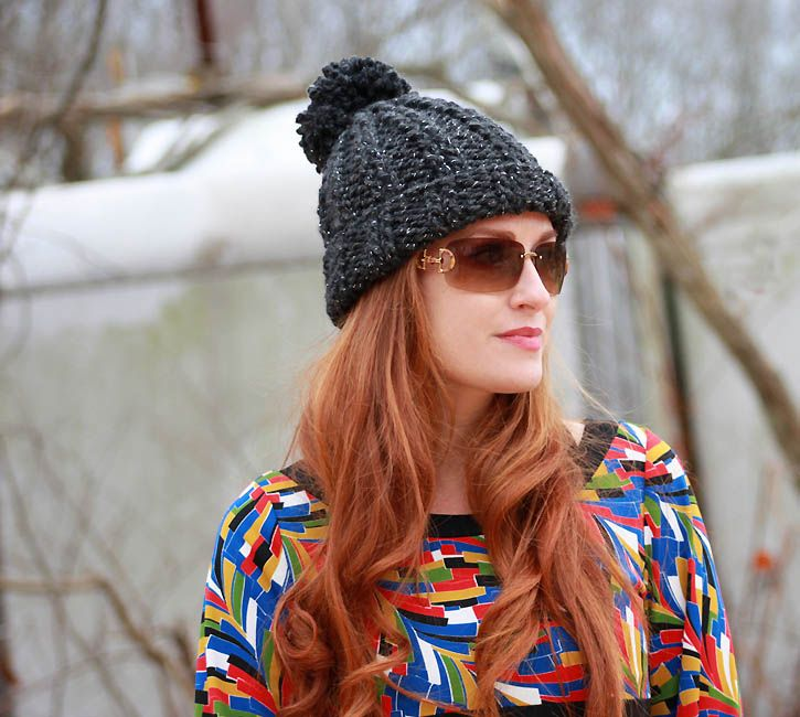 PRINTED INSTRUCTIONS-SUPER CHUNKY RIB BOBBLE BEANIE CIRCULAR  KNITTING PATTERN
