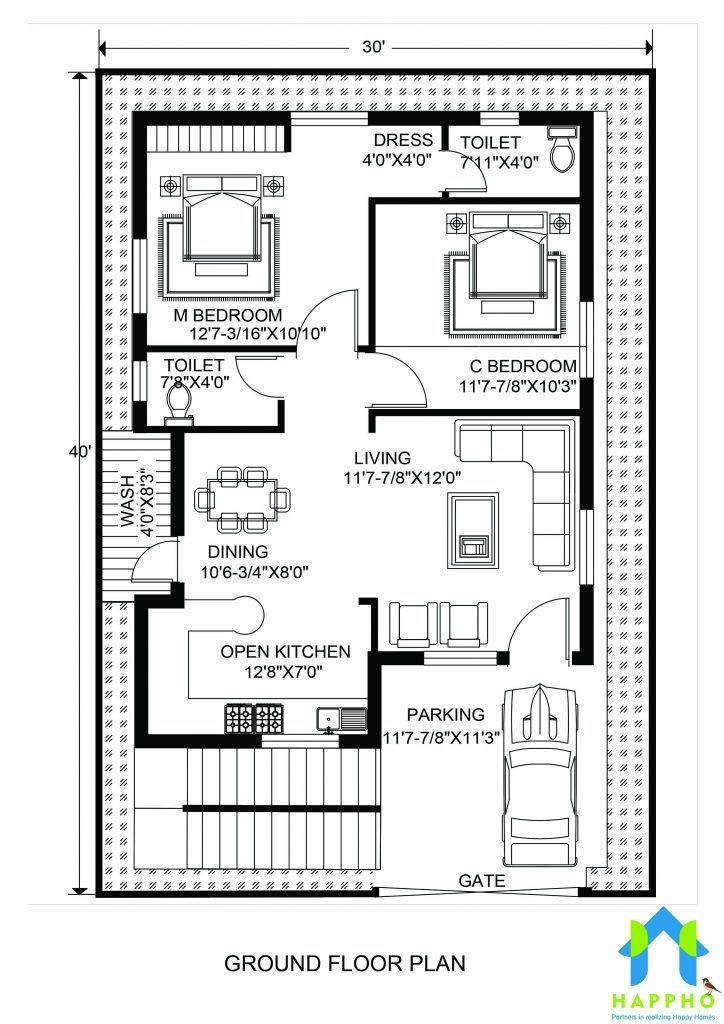 Floor Plan For 30 X 40 Feet Plot 2 Bhk 1200 Square Feet 133 Sq In 2020 30x40 House Plans Indian House Plans 20x30 House Plans
