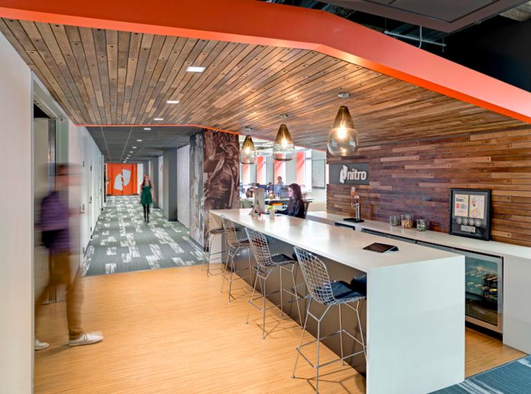 Cafe / Break Room / Low Ceiling / Wood