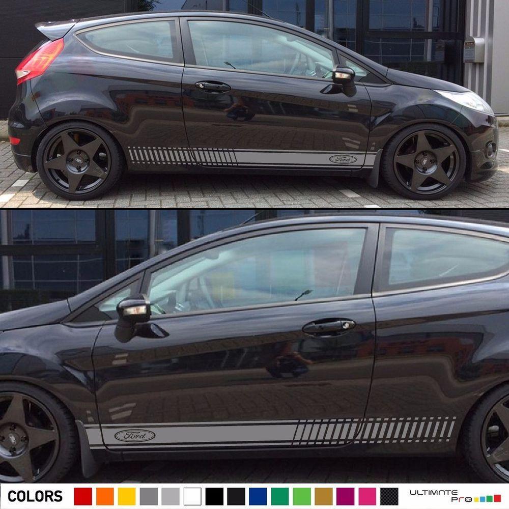 2x Decal Sticker Stripes Kit For Ford Fiesta Rs St Body Trim Light