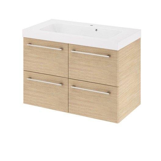 Meuble de salle de bains, Remix, l76, chêne naturel, Simple vasque