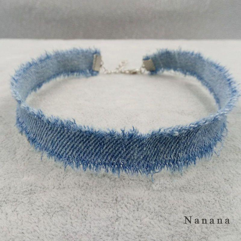 Armband Aus Jeans Selber Machen , 1cm Width Blue Denim Choker For Women Distressed Denim Jeans Choker