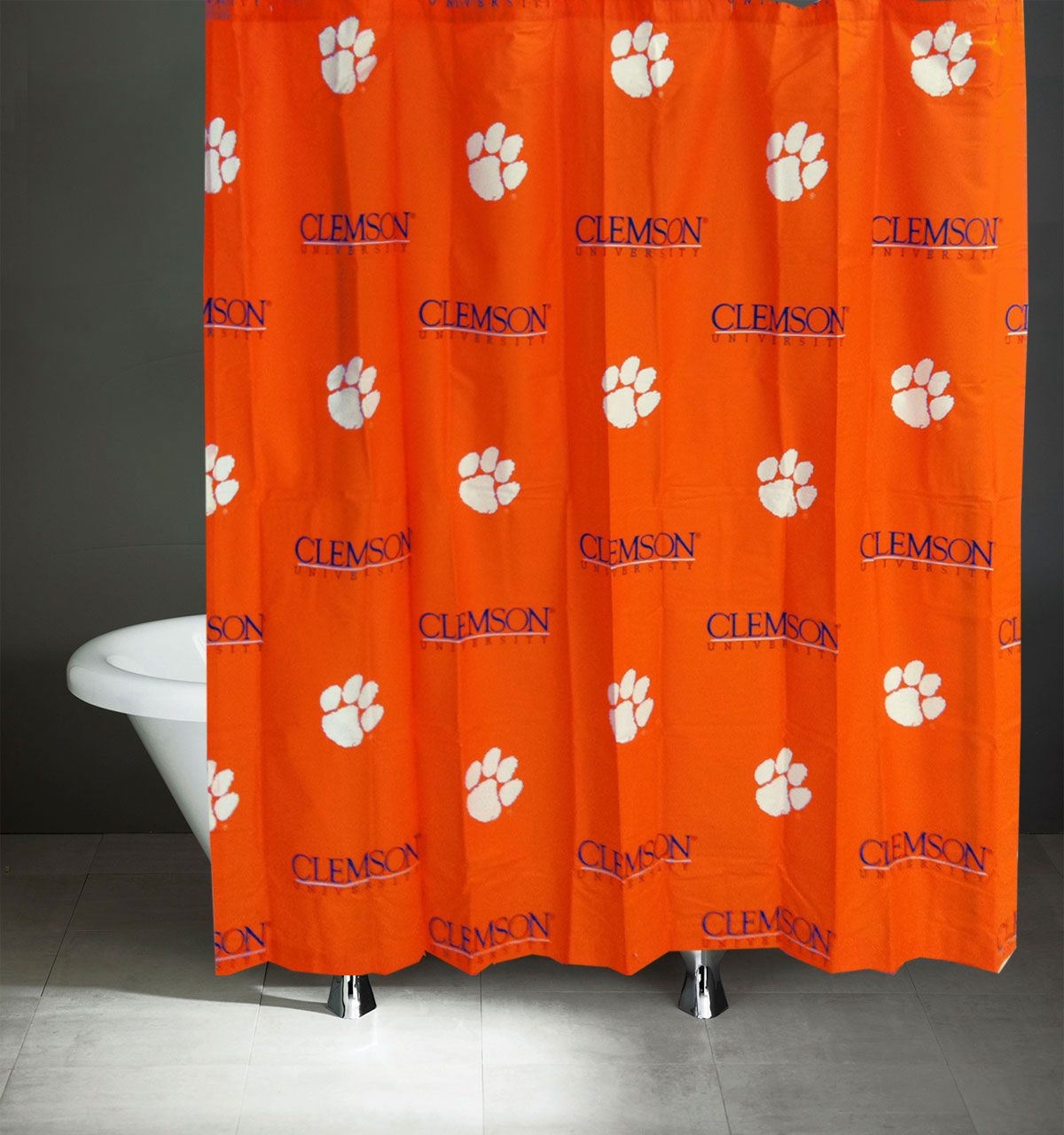 NCAA Clemson Tigers Shower Curtain Bathroom Decoration