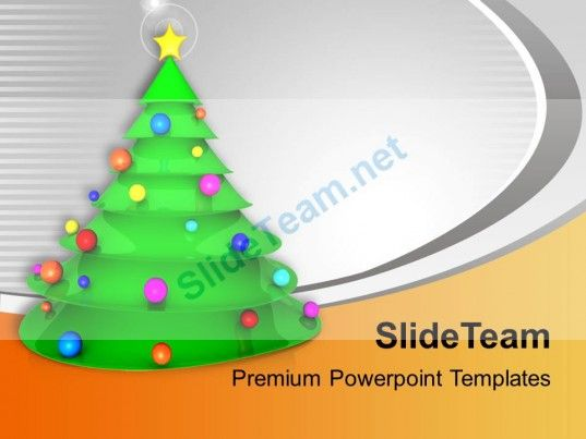 Christmas Tree With Balls And Star Joy Peace Powerpoint Templates - christmas powerpoint template