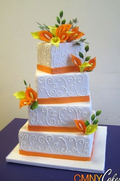 Wedding Cakes with Lilies | ... Calla Lilly Wedding Cake Keywords Square White Wedding Cake Calla Lily