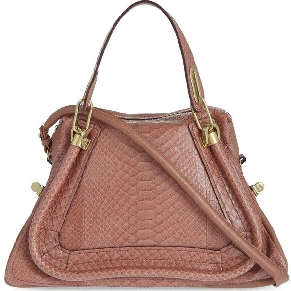 CHLOE Paraty python medium shoulder bag (4,845 CAD) ❤ liked on Polyvore featuring bags, handbags, shoulder bags, purses, dusty rose, python purse, snake print handbag, python print handbag, python handbag and snake print purse