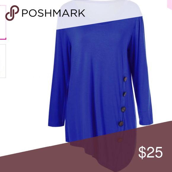 TOP LADIES Color Button Asymmetric Top! Cotton/Polyester!.  BRAND NEW AND NEVER WORN! (82~708) ✔️ Tops Blouses