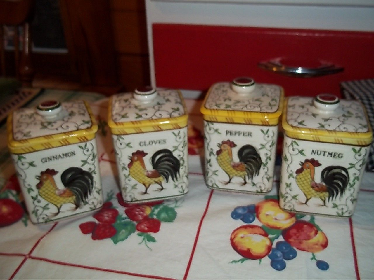 vintage rooster and roses spice canister set a