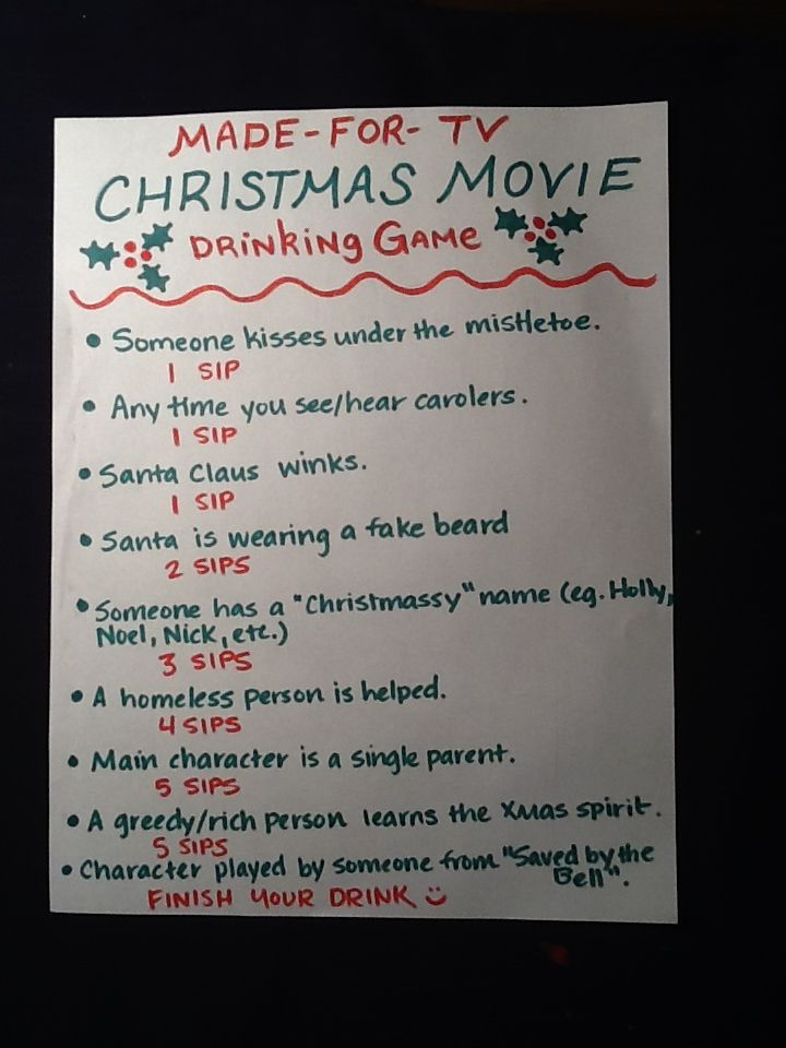 made for tv christmas movie drinking game