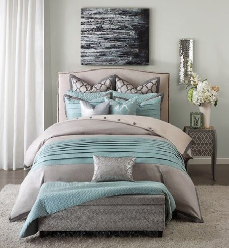 Tranquility In Grey And Sky Blue Comforter Sets By Hampton Hill