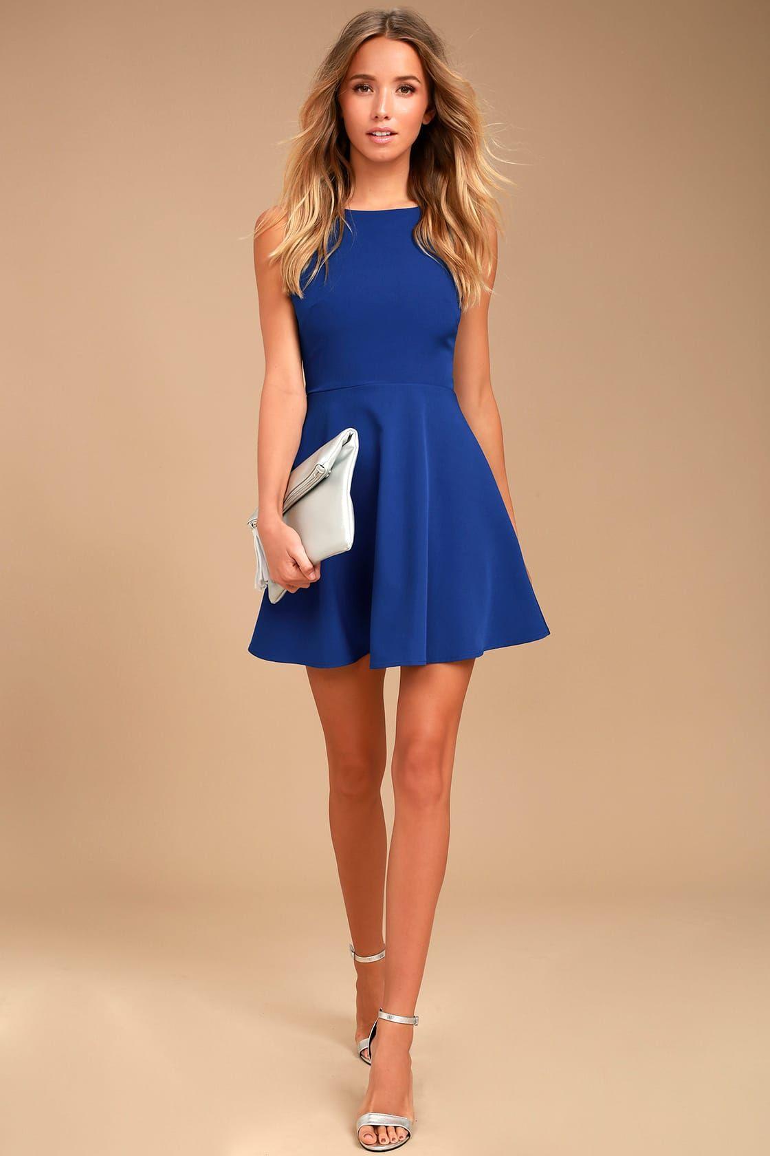 13809fa14d4bc3 Cute Royal Blue Dress - Cutout Skater Dress - Sleeveless Dress