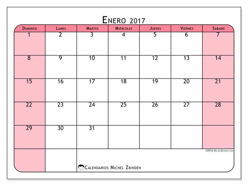 Gratis! Calendarios para enero 2017 para imprimir | entrevista ...