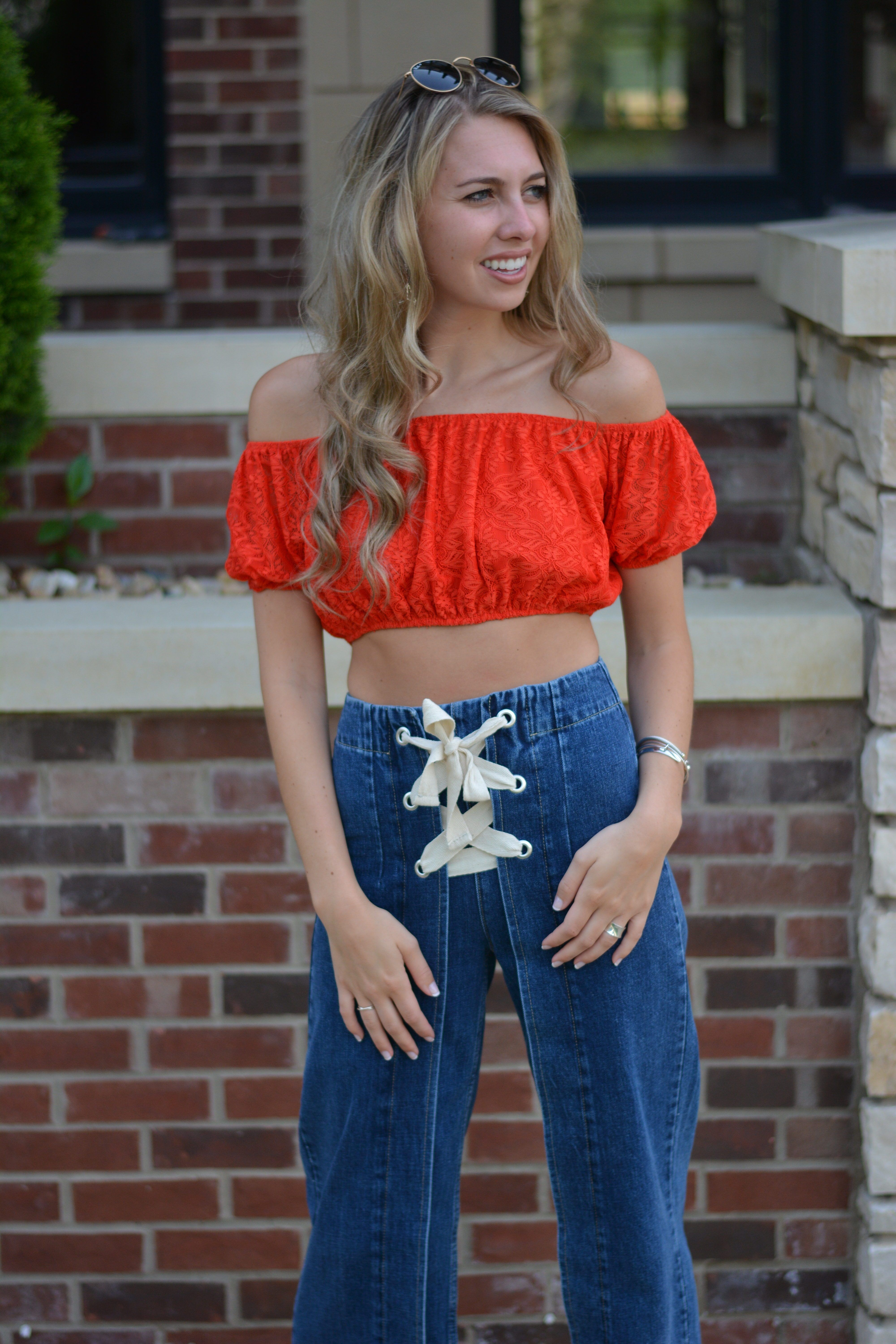 82ed2776ab52 Red White Red White Blue, Navel, Off Shoulder Blouse, Off The Shoulder,