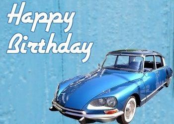 HAPPY BIRTHDAY VINTAGE CAR BLUE