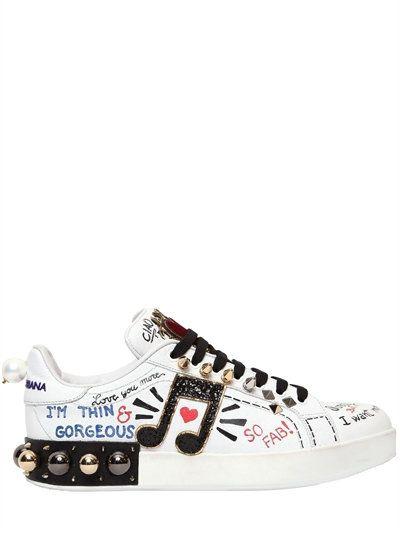 Dolce & Gabbana 20MM PORTOFINO GRAFFITI LEATHER SNEAKERS bkw2IE5