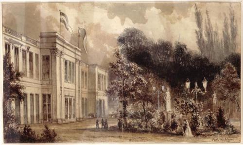 Parkzaal, Amsterdam, waar nu het Wertheimpark is. Voorgevel, naar Pierre Tétar van Elven. Hier vond in 1852 het Rembrandt-feest plaats, tussen schilderijen die vor de gelegenheid waren gemaakt.