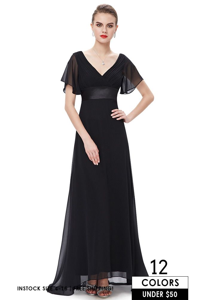 Black Long Chiffon Formal Dress Cheap Bridesmaid Dress Under 50
