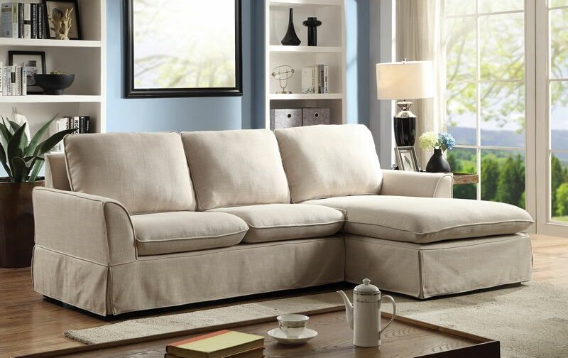 Cm6379bg 2 Pc Maxine I Beige Linen Like Fabric Skirted Sectional