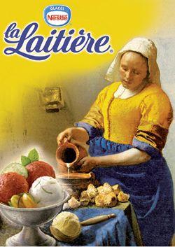 """Détournement du Tableau de"""" la laitière"""" de Johannes Vermeer (1958) pour une publicité de Yaourt ..."""