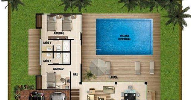 planos de casas modernas de 2 pisos con piscina