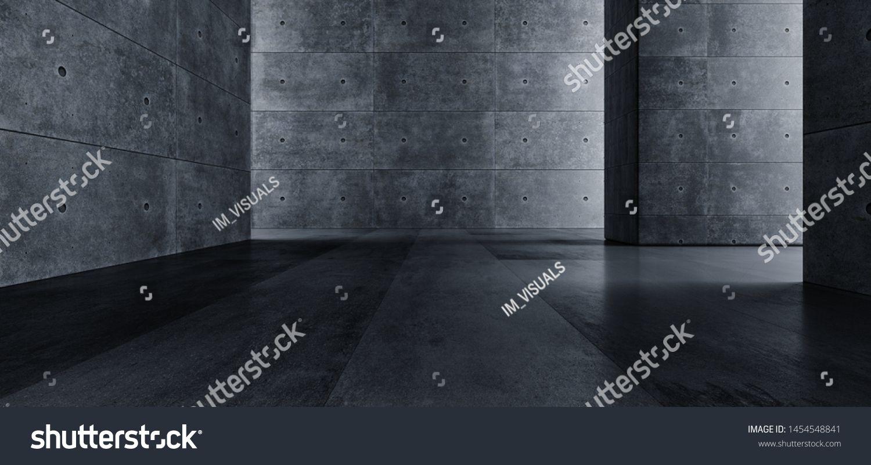 Elegant Grunge Concrete Big Hall Room Corridor Cement Tunnel Garage Gallery Empty Dark Light Path Underground Reflective Rough Sci Fi 3D Rendering Illustration