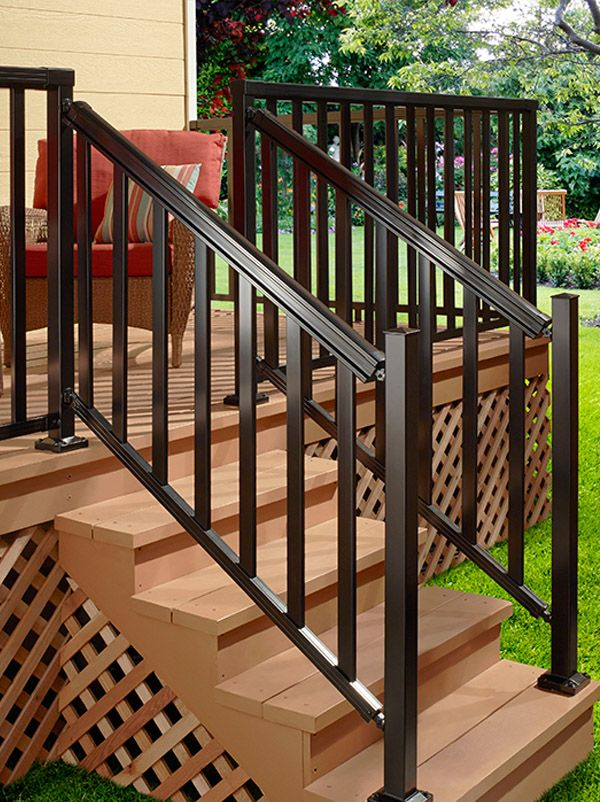 Bon DIY Aluminum Railing System   Stair Railing Black With Wide Pickets.