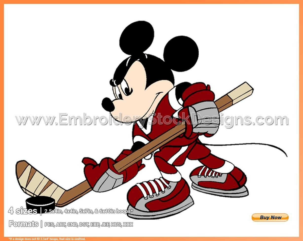 Mickey Mouse 35 Disney Hockey Sports Disney Character Designs In 4 Sizes Embroidery Dsnys001419 Hockey Pictures Mickey Mouse Hockey Drawing