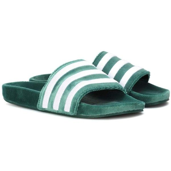 151bb851b23306 Adidas Originals Adilette Velvet Slides ( 75) ❤ liked on Polyvore featuring  green